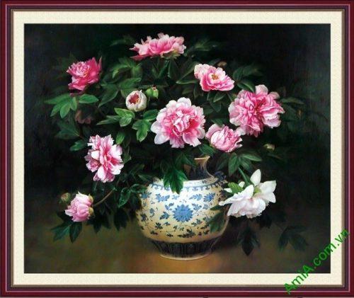 Tranh binh hoa mau don phong thuy treo tuong