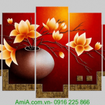 Tranh binh hoa sen dat treo tuong phong khach AmiA