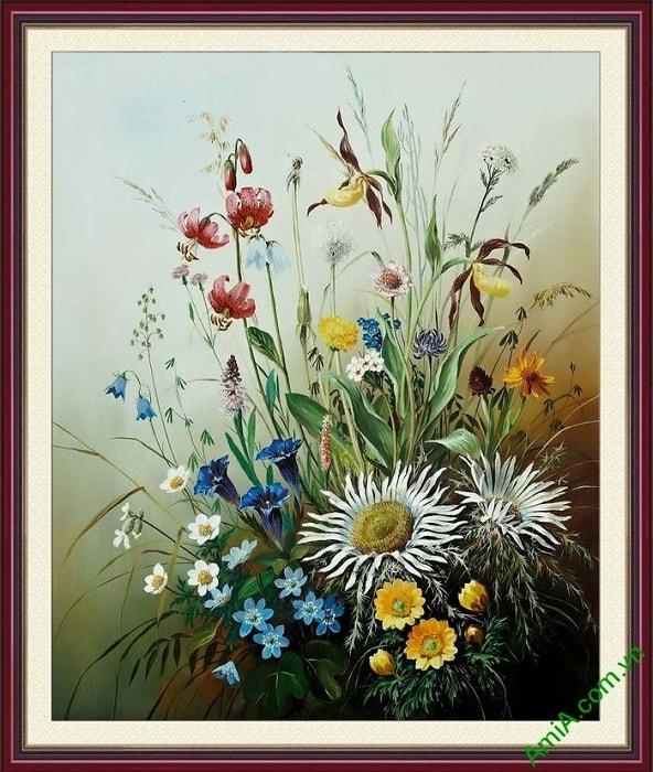 Tranh hoa bon mua treo tuong hop phong thuy Amia 860