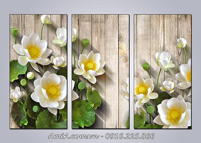 Tranh hoa sen mang y nghia phong thuy tot lanh khi treo tuong phong khach dep