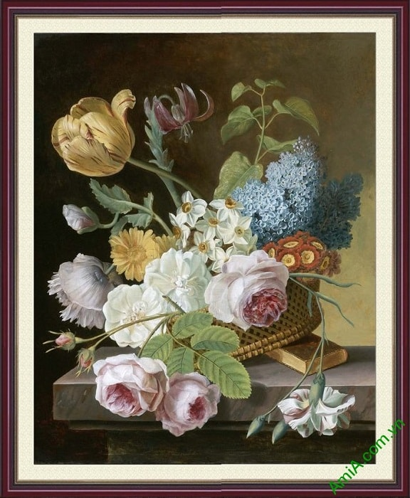 Tranh phong thuy binh hoa bon mua Amia 861