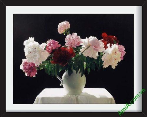 Tranh phong thuy binh hoa mau don 9 bong treo tuong
