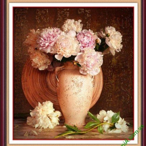 Tranh phong thuy binh hoa mau don treo tuong phong khach dep