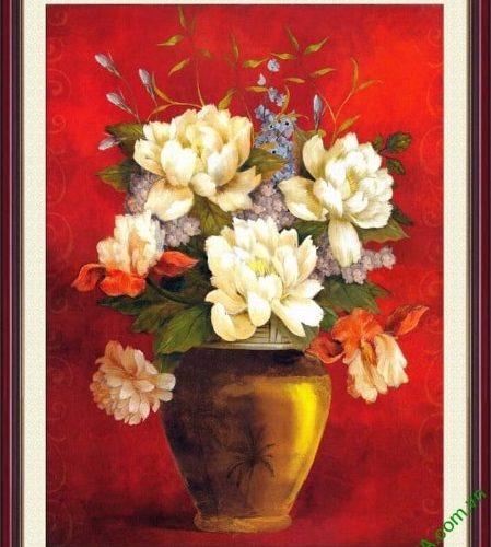 Tranh phong thuy treo tuong phong khach binh hoa dep AmiA