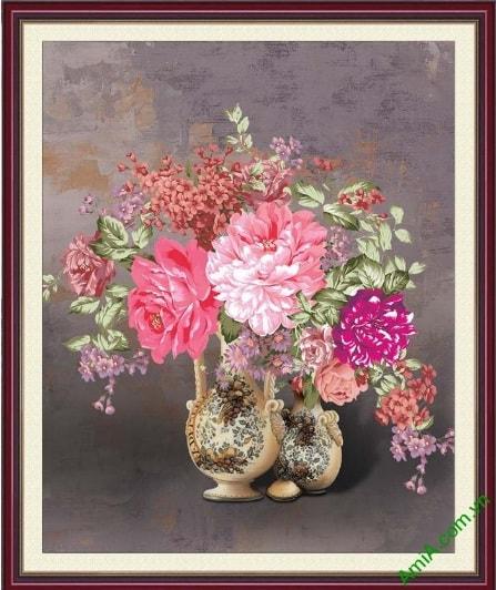 Tranh song binh hoa mau don phong thuy treo tuong