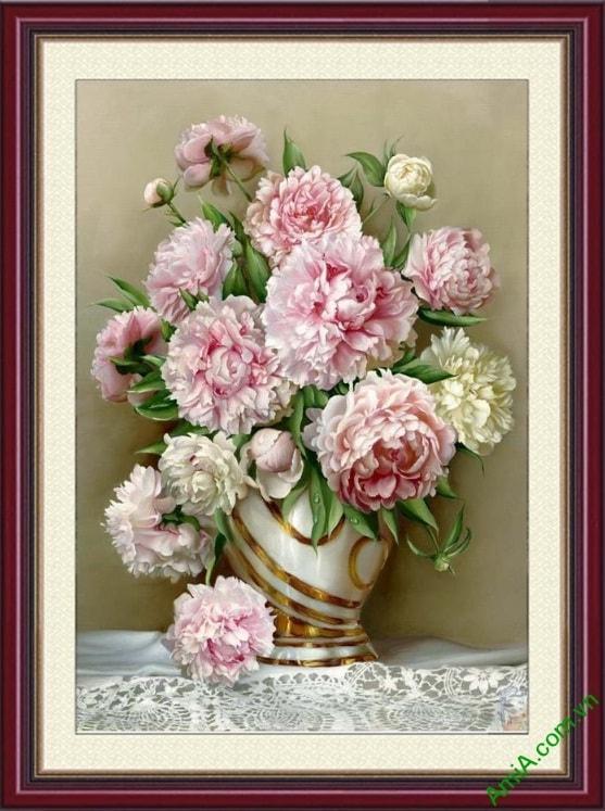 Tranh treo tuong binh hoa mau don hop phong thuy amia 701