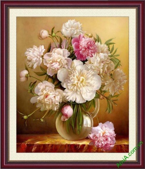 Tranh treo tuong phong thuy binh hoa mau don trong suot
