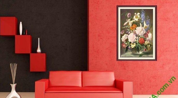 Y nghia tranh phong thuy binh hoa bon mua treo tuong phong khach