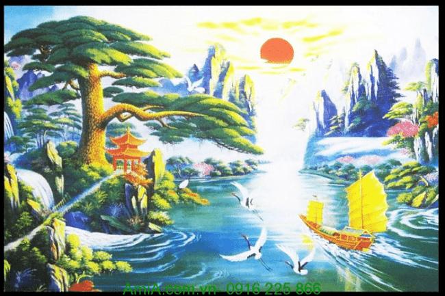 Hinh anh tranh canvas phong thuy treo tuong thuyen buom