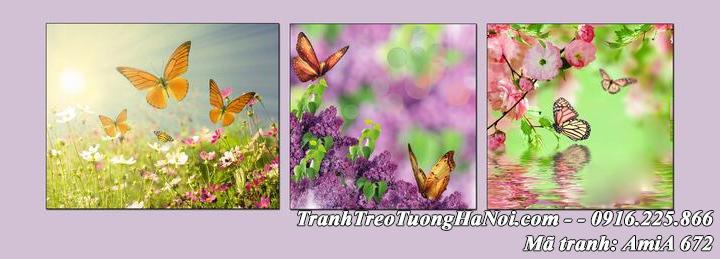 Hình ảnh tranh amia 672 hoa bướm treo tường 3 tấm