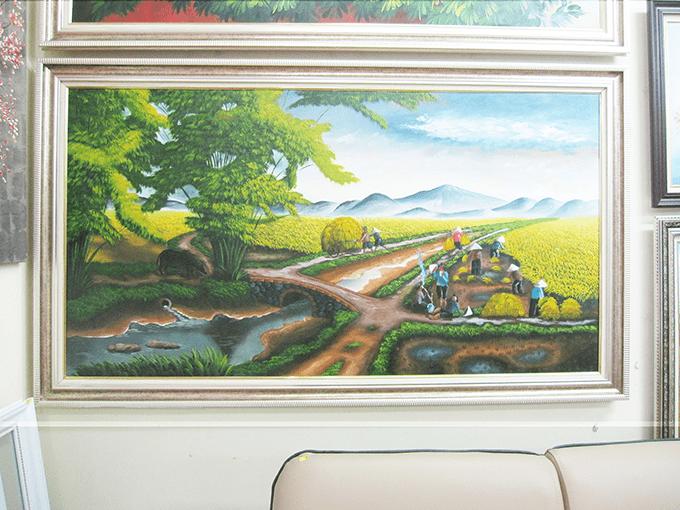 Hinh anh bưc tranh ve thu hoach ngay mua tren canh dong lua boi thu ma tranh son dau 242