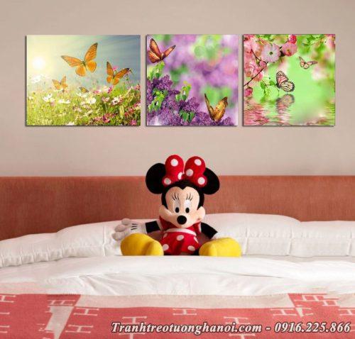Hình ảnh tranh treo phòng bé gái AmiA 672 hoa bướm