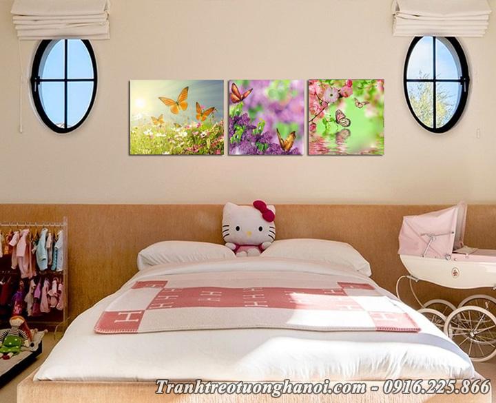 Hình ảnh tranh amia 672 hoa bướm treo tường phòng trẻ em