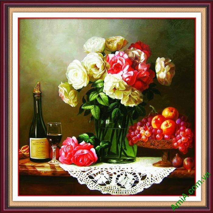 Hinh anh tranh dep co dien treo tuong phong an hoa qua ruou Amia 687