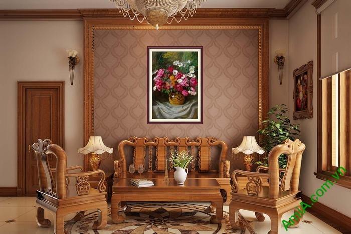 Hinh anh tranh gio hoa cuc treo tuong phong khach