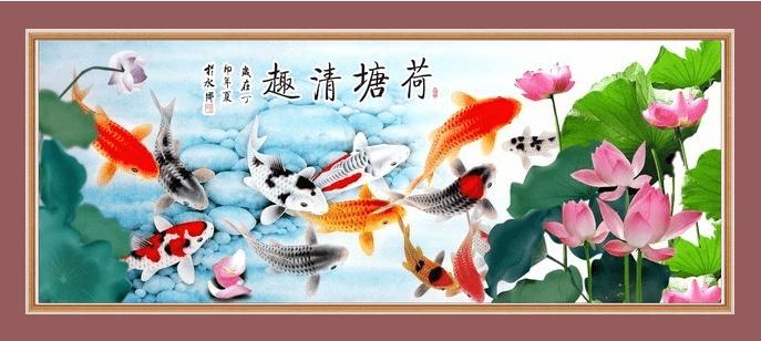 Ket qua Hinh anh tranh ca chep hoa Sen treo tuong sung tuc hop tuoi Nham thin 1952