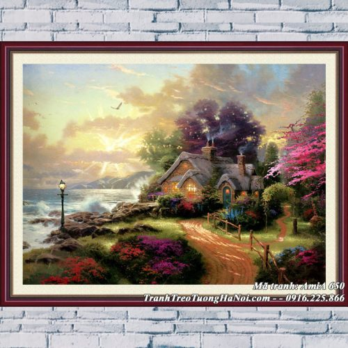 Hình ảnh tranh treo tường phòng khách AmiA 650 ngôi nhà châu âu