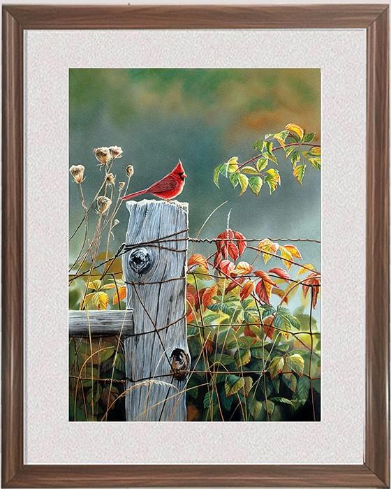 Hinh anh tranh treo tuong khung nho chu chim binh yen AmiA 1369