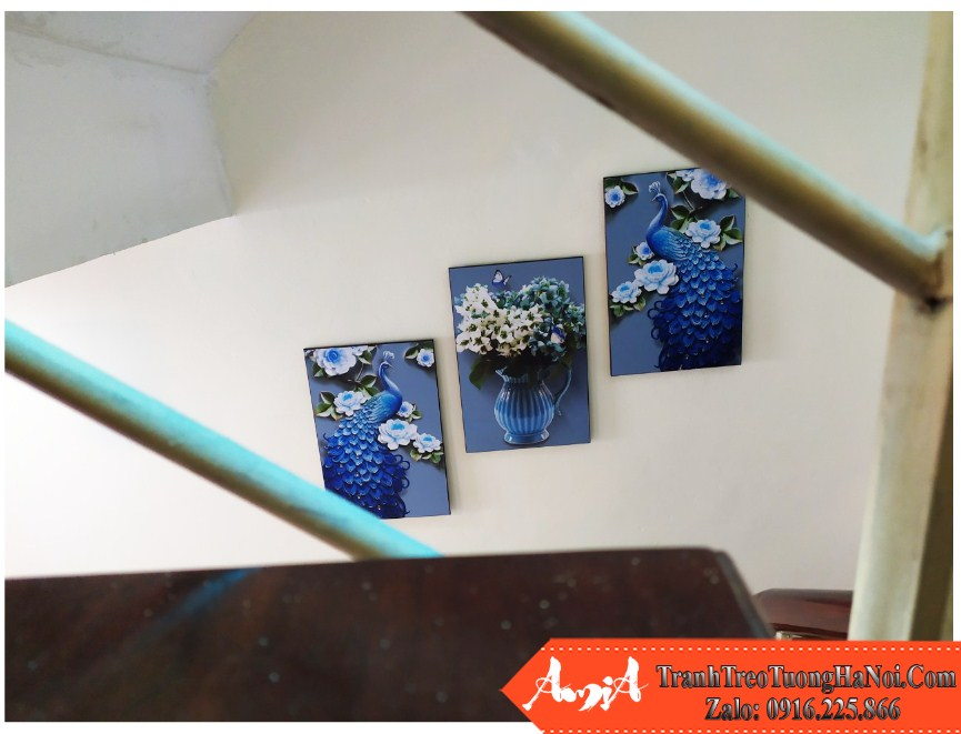 Bo tranh chim cong binh hoa mau xanh 3d amia 1503