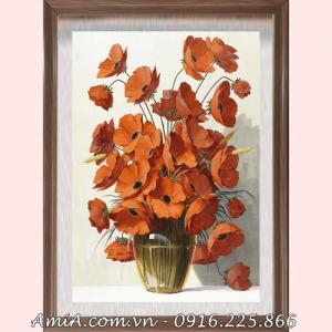 Anh dai dien mẫu tranh AmiA mã 1364 tranh bình hoa poppy màu cam