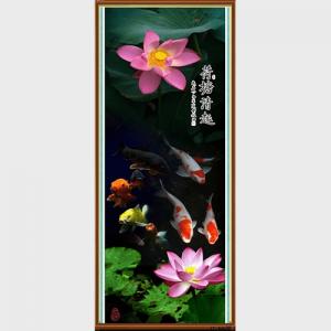 Tranh hoa Sen ca chep kho dung AmiA 1323