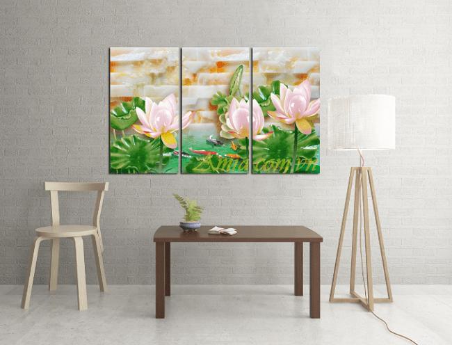 Phong khach nha chung cu treo tranh hoa Sen 3D treo tuong AmiA 1132
