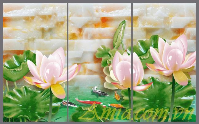 Tranh 3D treo tuong hoa sen dep an tuong amia 1132