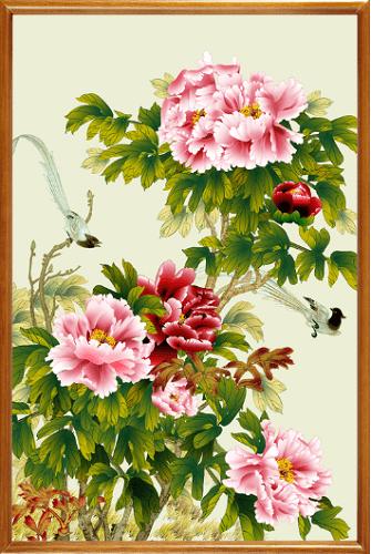 Tranh hoa mau don chim se treo tuong y nghia amia 437