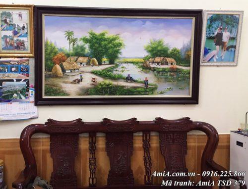 Hình ảnh tranh vẽ làng quê đẹp bằng sơn dầu AmiA TSD 379
