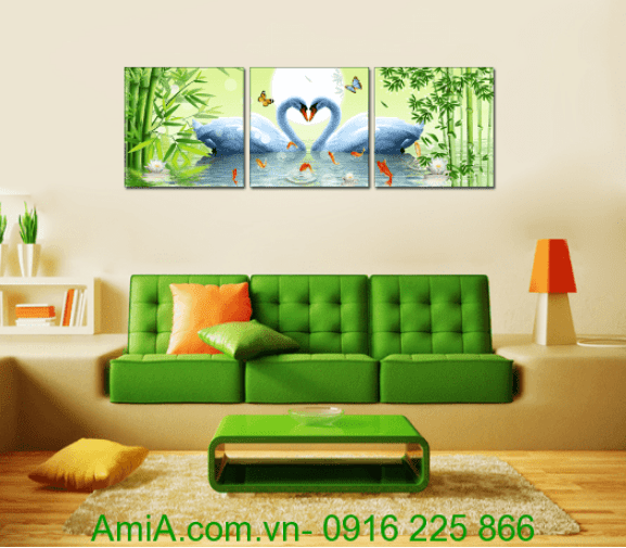 Tranh doi chim thien nga duoi trang treo tuong phong khach AmiA 1403