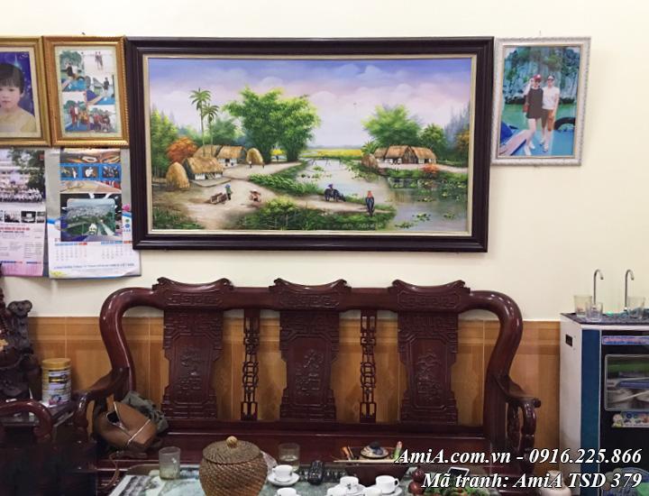 Tranh sơn dầu AmiA TSD 379 vẽ phong cảnh đồng làng quê đẹp