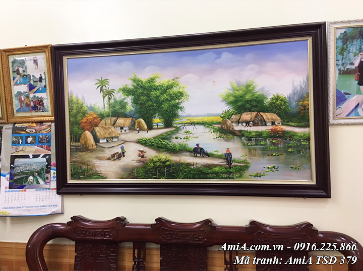 AmiA TSD 379 phong cảnh làng quê treo phòng khách bằng sơn dầu