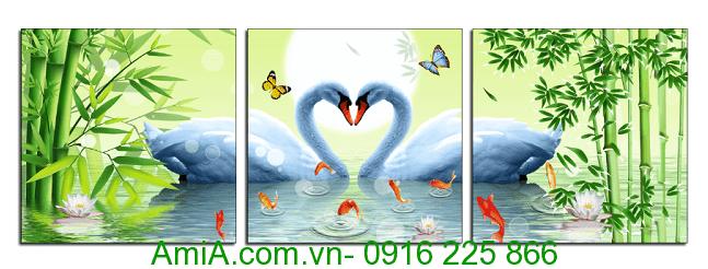 Tranh treo tuong phong ngu doi chim thien nga thuoc hanh Kim AmiA 1403
