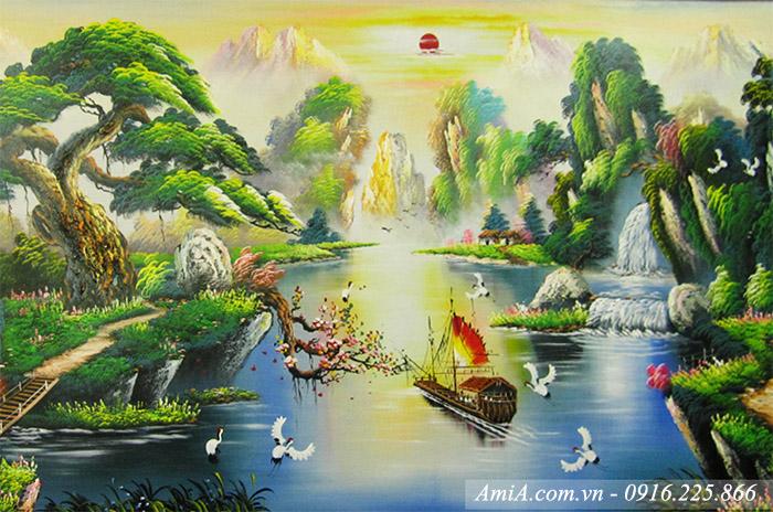 Phong canh dep song nui thien nhien duoc ve son dau