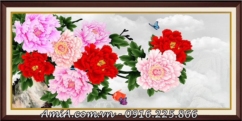 Tranh hoa mau don 9 bong y nghia treo tuong AmiA 1418