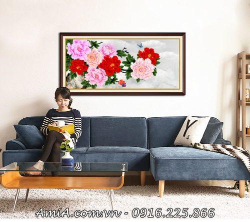 Buc tranh hoa mau don treo tuong o phong khach gia dinh AmiA