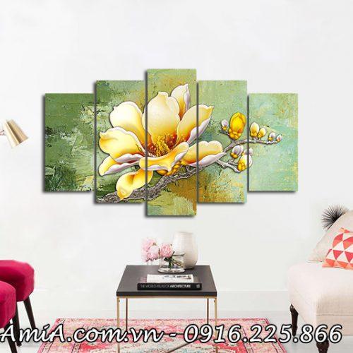 Tranh hoa moc lan phu quy treo tuong phong khach