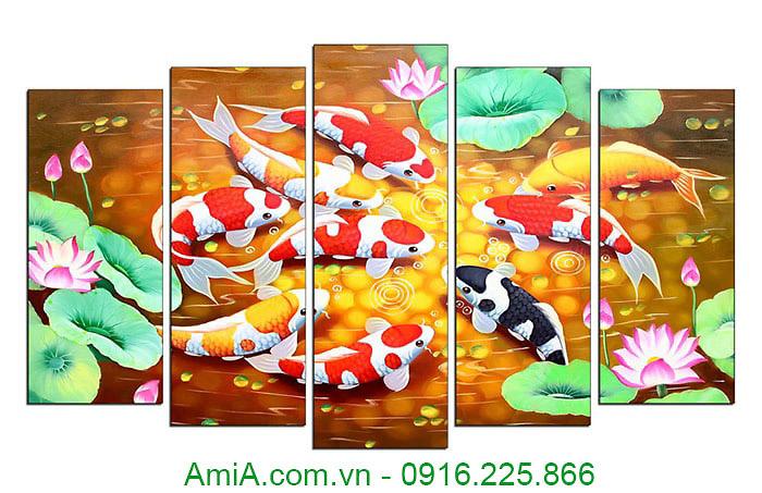 Tranh phong thuy ca chep hoa Sen AmiA 4116A
