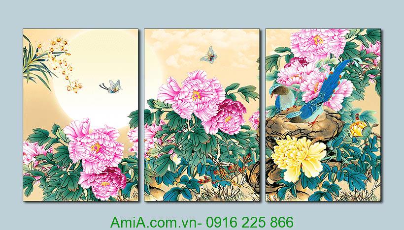 Tranh phong thuy doi chim hoa mau don duoi trang AmiA 1347