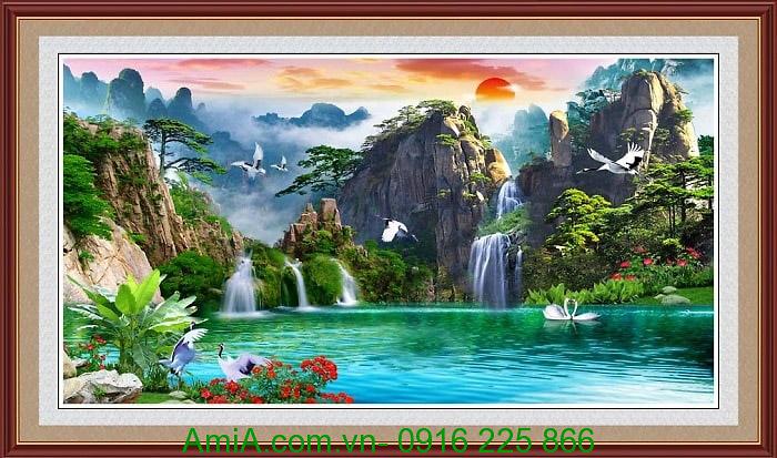 Tranh phong thuy son thuy huu tinh AmiA 1328