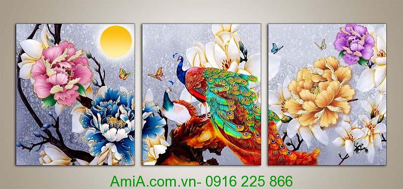 Tranh phong thuy song phung duoi trang AmiA 1017
