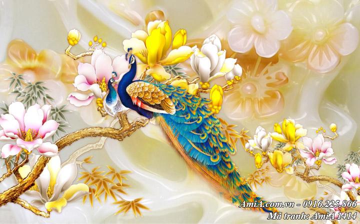 Tranh phong thuy treo tuong song phung moc lan nguyen tam Amia 1414