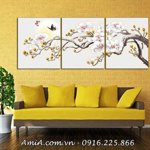 Tranh treo phong khach dep canh hoa moc lan AmiA 1416
