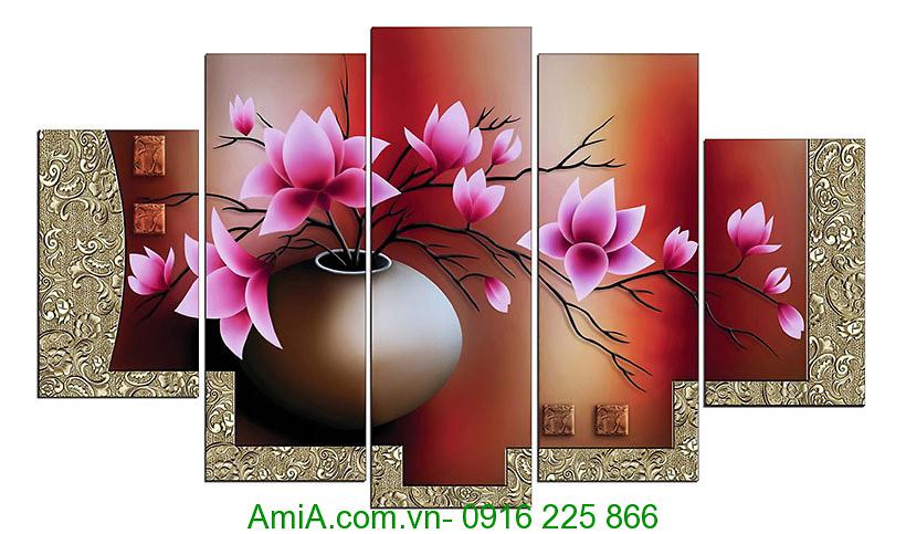Tranh treo tuong binh hoa sen dat phong thuy AmiA 1086