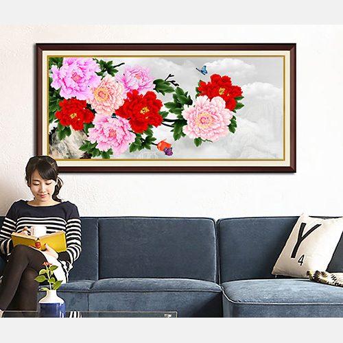 Tranh treo tuong hoa mau don 9 bong AmiA 1418