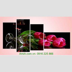 Tranh treo tuong phong an sang trong hoa tulip ruou vang AmiA 1089