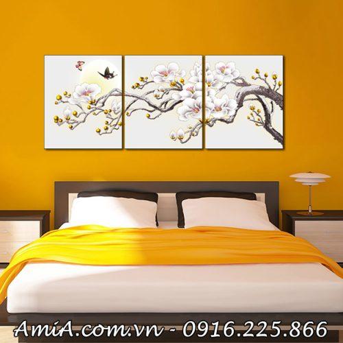 Tranh treo tuong phong ngu canh hoa moc lan duoi trang AmiA 1416