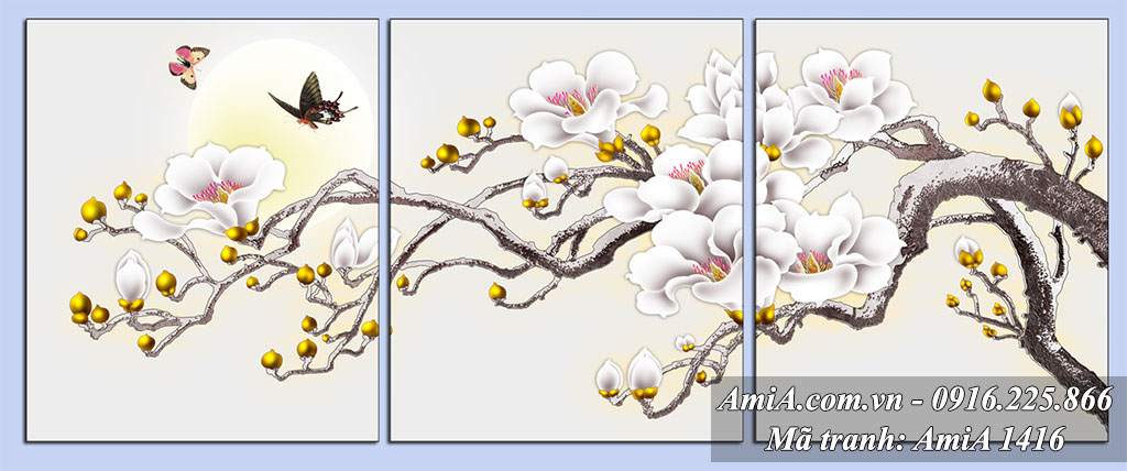 Tranh nhanh hoa moc lan treo tuong phong ngu vo chong AmiA 1416