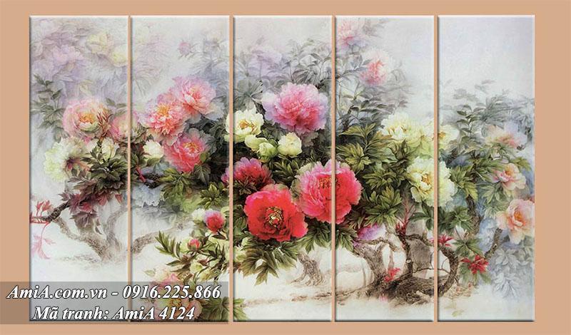 Treo tranh ghep bo 5 tam hoa mau don nghe thuat y nghia