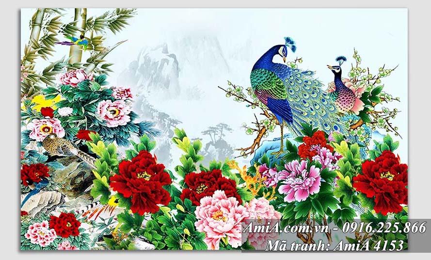 Tranh vo chong chim cong va hoa mau don tren nui duoc nhieu nguoi yeu thich
